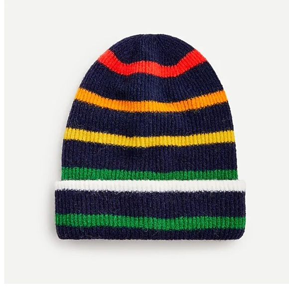 J.Crew Navy Cerise Supersot Knit Beanie Hat